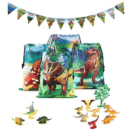 Dinosaur World Party Supplies and Favors Set-Dinosaur Goody Bags, Mini Toy Dinosaurs and Dino Happy Birthday Banner for Kids,Boys,Girls Birthday,Party