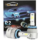 R2 COB H11 H8 H9 8000LM LED Headlight Conversion Kit, Low beam headlamp, Fog Driving Light, HID or Halogen Head light Replacement, 6500K Xenon White, 1 Pair- 1 Year Warranty