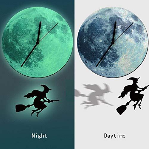 Halloween Night Lunar Clock Cartoon Luminous Moon Wall Clock Home Decoration