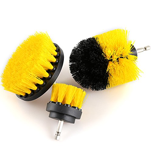 Drill Brush Attachment Kits, 3 Pieces Cleaning Power Scrubber Brush Heads for Cordless/Corded Drills, All Purpose Bathroom Surface, Grout, Tub, Shower, Kitchen, Drill Is Not Included (Medium-Yellow) by HENGQIANG (Image #6)