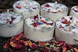 5 Lavender and Rose Petal SOY Tea-light Candles- Spa-Relaxation- Home Decor-Bath-Aromatherapy- Lavender Fragrance-Gifts- Handmade