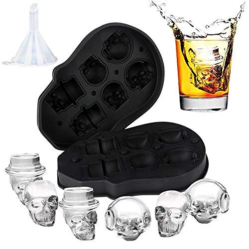 3D Skull Ice Mold, Easy Release and Fill Melt Slower Silicone Skull Ice Cube Tray, Makes Six Vivid Skulls,Cool and Funny Ice Skull,For Whiskey,Cocktails With Funnel(Black)