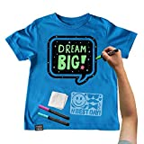 Chalk of the Town Blue Speech Bubble Chalkboard Short Sleeve T-Shirt Kit for Kids with 3 Markers and 1 Stencil (Youth Medium)