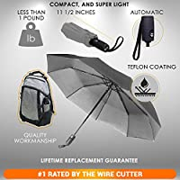 Repel Windproof Travel Umbrella Teflon Coating (Gray)