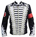 NorthernFinch Men's Military Style White Threading Jacket Cotton Black 5X-large