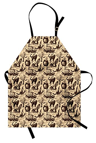 Lunarable Vintage Halloween Apron, Symbols of Halloween Witch Hat Cauldron Fall Jack o Lantern Black Cat, Unisex Kitchen Bib Apron with Adjustable Neck for Cooking Baking Gardening, Pale Brown