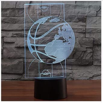3D Led Luz de la noche Moda Usb Cancha de baloncesto Modelado 7 ...