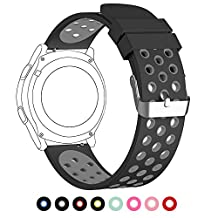 22mm Universal Smart Watch Bands, FanTEK Soft Silicone Sport Quick Release Watch Strap Wristband for Pebble Time Steel/ MOTO 360 2nd Gen Watch(46mm Case)/ Samsung Gear S3 Frontier/Classic--M/L Size