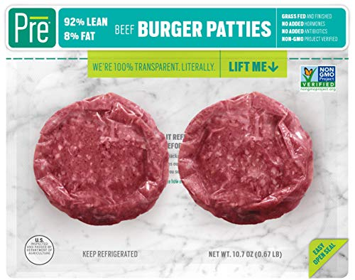 Pre, 92% Lean Burger Patties - Grass-Fed, Grass-Finished, and Pasture-Raised Beef - 10.66oz.  (2 pack)