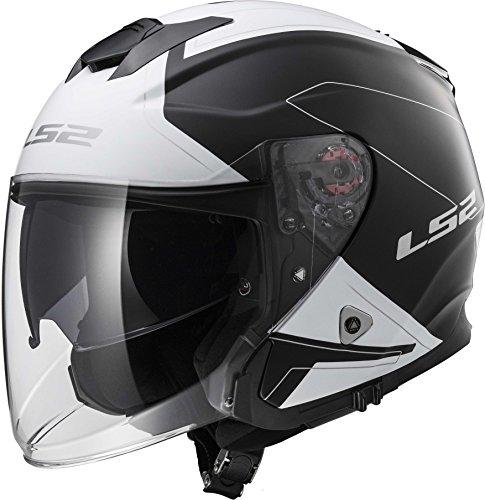 LS2 Helmets Beyond Unisex-Adult Open-Face-Helmet-Style Infinity Fiberglass Helmet (Black/White, - Latest Styles Glasses