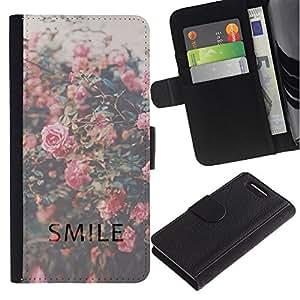 Planetar® Modelo colorido cuero carpeta tirón caso cubierta piel Holster Funda protección Sony Xperia Z1 Compact D5503 ( Smile Motivational Vignette Roses )