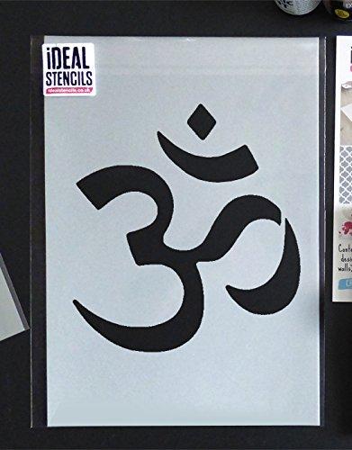 Om Símbolo Estarcido Budista Símbolo reutilizable Pared Hogar ...
