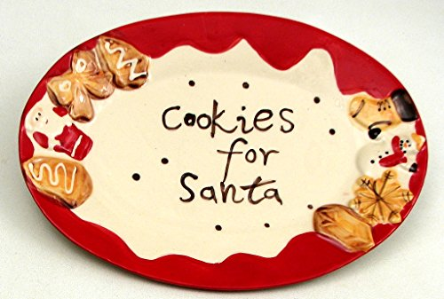 Christmas Cookie Plate Santa Party Serving Ceramic Decorative Shape Display Merry Dinner Dessert Salad Kids Colorful Appetizer ()