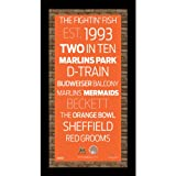MLB Miami Marlins Subway Sign Wall Art with Authentic Dirt from Marlins Park, 9.5x19-Inch