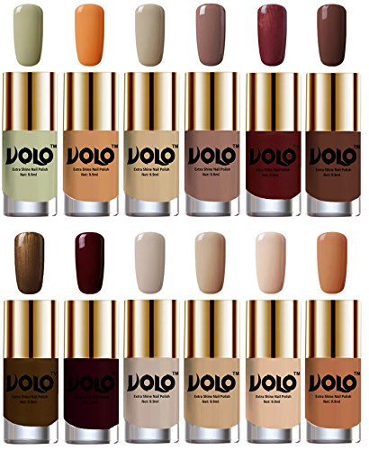 Volo Luxury Super Shine Nail Polish Set of 12 Vibrant Shades (Mischievous Mint, Flirty Nude, Nude, Dark Nude, Metallic Maroon, Chocolate Brown, Brown Coffee, Maroon, Nude Tude)