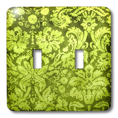 3dRose lsp_32492_2 Decorative Vintage Floral Wallpaper Green Double Toggle Switch