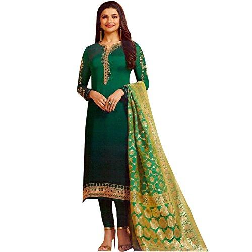 - Laxminarayan Green Georgette Satin Embroidered Churidar Straight Salwar Suit with Pure Banarasi Silk Dupatta (Medium)