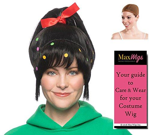 Candy Girl Vanellope Color Black - Enigma Wigs Ralph Cartoon Video Game Wreck It Sugar Rush Bundle w/Cap, MaxWigs Costume Wig Care -