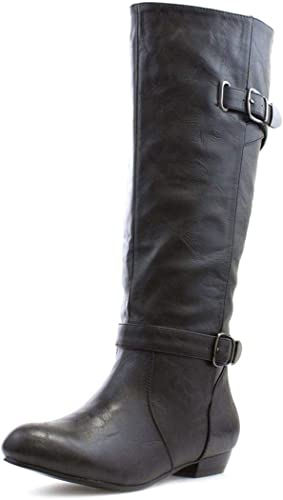 Lilley Womens Black Pull On Buckle Knee