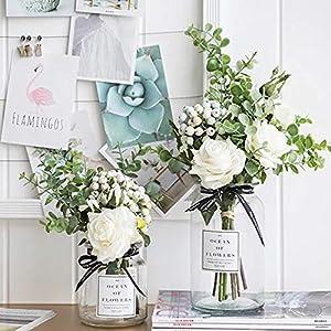 Kirifly Artificial Flowers Silk Roses Fake Plants Eucalyptus Leaves Berries Flower Arrangements Wedding Bouquets Decorations Floral Table Centerpieces Plastic Indoor Faux Plants Décor(White) 4