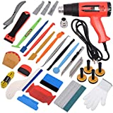 Gomake Car Tinting Vinyl Wraps Tool Kit for Film Wrapping Installation, Include Heat Gun, Micro Mini Squeegee, Film Cutter, Magnet Holder, Plastic Scraper