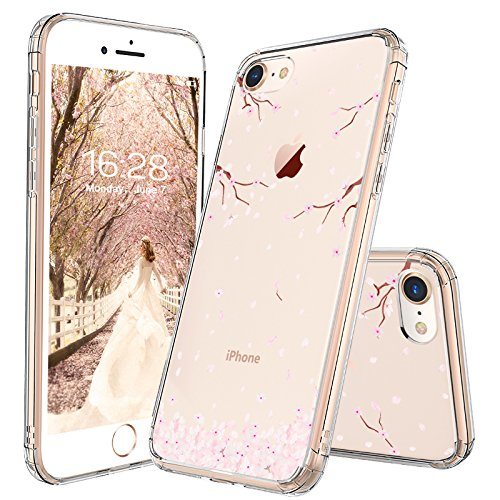 iPhone 8 Case, iPhone 7 Case, MOSNOVO Cherry Blossom Floral Printed Flower Pattern Clear Design Transparent Plastic Back Case with TPU Bumper Case Cover for iPhone 7 / iPhone 8