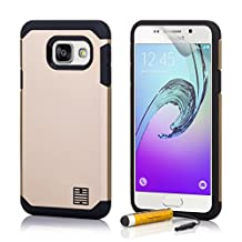 32nd Slim Armour Defender Case Cover for Samsung Galaxy A3 (2017), including touch stylus - Gold