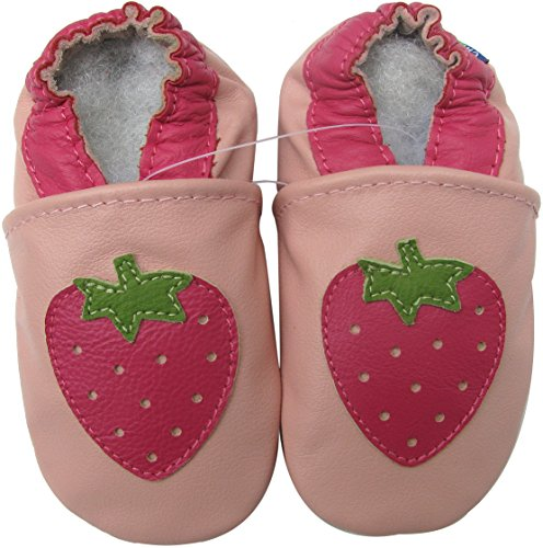 Carozoo baby girl soft sole leather infant toddler kids shoes Strawberry Pink 18-24m