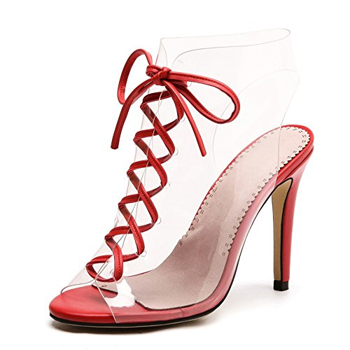 CM Feifei Discoteca 10 Zapatos de Sandalias Abiertos Transparente Pescado tacón la Alto Vendas de de Rojo Romanos Mujer Discoteca Zapatos Boca Verano 4wgRqFnB
