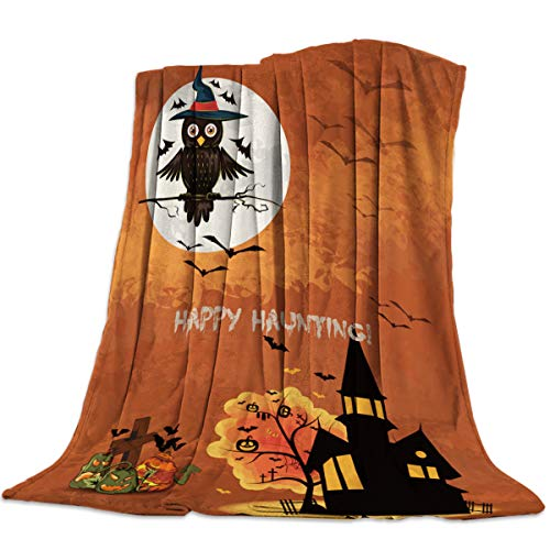 Flannel Fleece Throw Blankets for Bed/Couch, Soft Warm Fuzzy Plush Microfiber All-Season Lightweight Sofa Chair Blanket Stadium Throws - Throw 40x50 Inch Happy Halloween Castle and Magic Owl