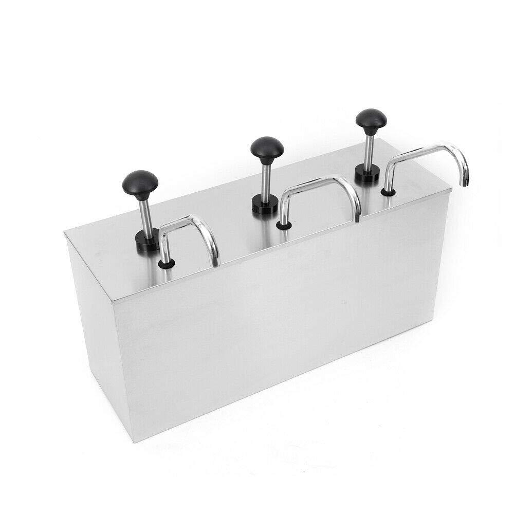 Newest Three Head Condiment Pump Stainless Steel Sauce Dispenser Pump for Cafes/Restaurant/Kitchen 4L3 by RANZHIX