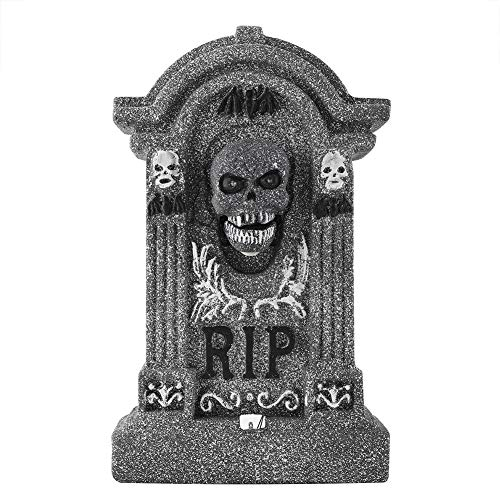 Sound Control Prop Foam Tombstone, Tombstone Cemetery Decorative Props Halloween Decorations, With Led Sound Control Lights, Suitable For Halloween Decorations, Layout Venues, Mischief And So On. -