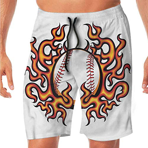 Quick-Dry Beach Bike Shorts Sports,Baseball with Flame Champion Swim Shorts Men L ()