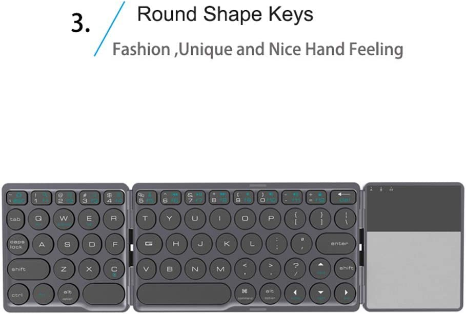 with Touchpad Bluetooth Wireless Keyboard Foldable BT Mini Keyboard for Phone Tablet Laptop PC Ipad iPhone,Silver Portable Folding Keyboard