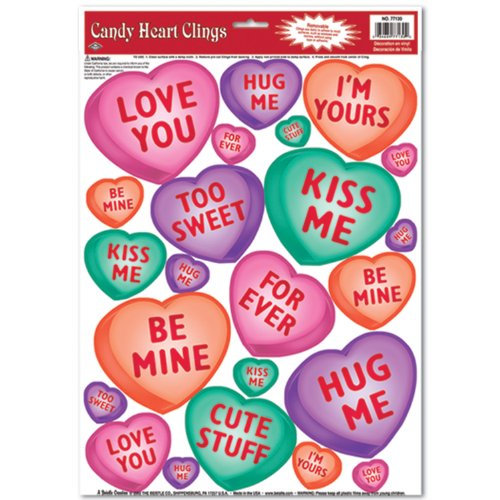 Candy Hearts Costume (Candy Heart Clings Party Accessory (1 count) (23/Sh))