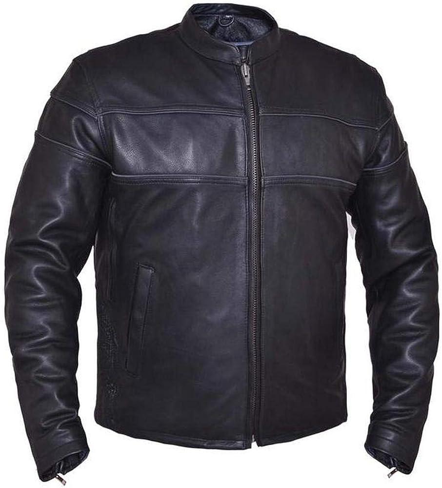 Ultra Mens Motorcycle Leather Jacket,Black,Size 4XL