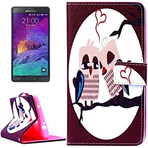 Owl Lovers Pattern Horizontal con solapa Magnetic Buckle Leather Funda con Holder Case Cover & & Wallet bolsillos internos para Samsung Galaxy Note 4