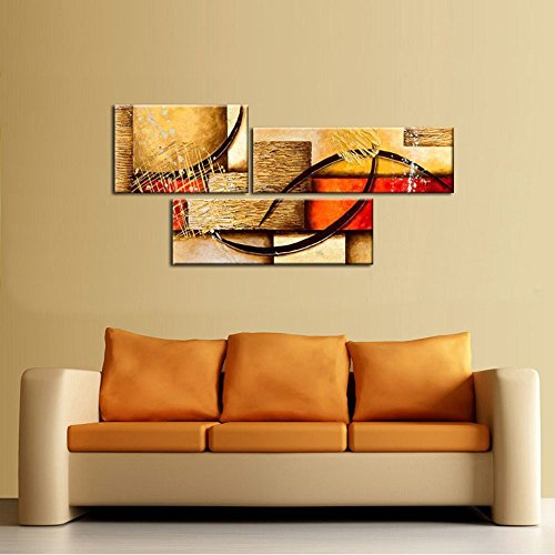 Amazon.com: Wieco Art 3 Pics Modern Abstract 100% Hand Painted Oil ...