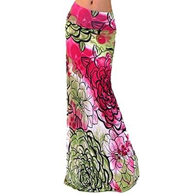 Novias Women Summer Multicolored Print High Waisted Beach Maxi Skirts Long Skirt
