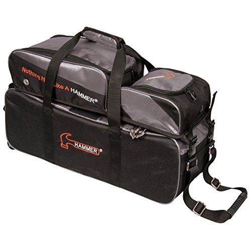 Hammer Premium Deluxe Triple Tote with Removable Pouch Bowling Bag, - Bag Bowling 3 Ball Hammer