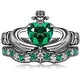 Claddagh Ring, Irish Claddagh Friendship Heart Created Bridal Rings Set Sterling Silver