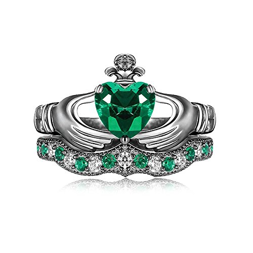 Evermarker Claddagh Ring Set, Irish Claddagh Friendship Gold Plated Cubic Zirconia CZ Green Rhinestone Heart Cut Crown Bridal Rings Size9(U.S/19mm)(9)