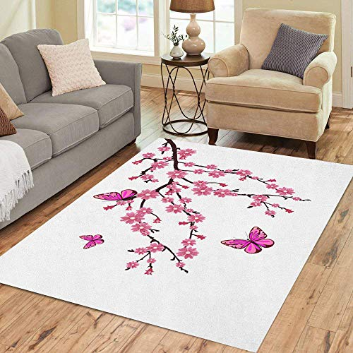 Semtomn Area Rug 5' X 7' Colorful Branch Cherry Blossom Tree Butterfly Spring Beauty Border Home Decor Collection Floor Rugs Carpet for Living Room Bedroom Dining Room ()