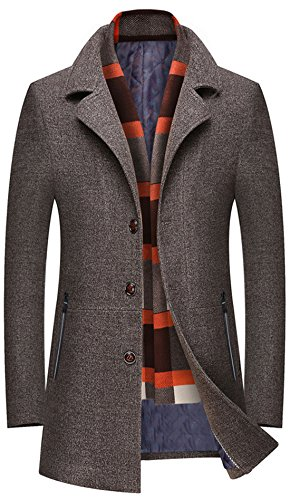 Single Breasted Quilted Jacket - Chouyatou Men's Winter Notched Collar Single Breasted Quilted Wool Midi Coats Plaid Scarf (Khaki, Medium)