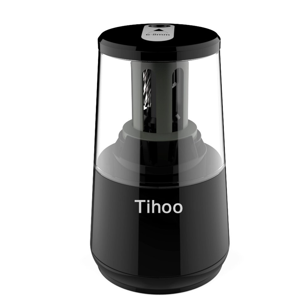 Tihoo Electric Pencil Sharpener with Safety Device, Fast Sharpen and Auto Stop for Regular and Colored Pencils, USB or AC or AA Battery Operated for Office, School, Home (Black) by Tihoo (Image #1)