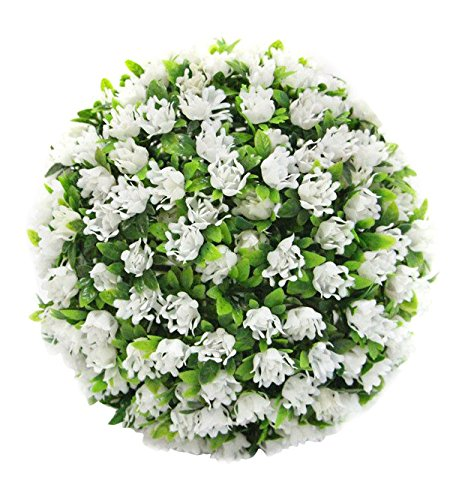 """Porpora Decorative Artificial Flower Ball for Home Decor, Weddings and other Special Events, 11"""" L, White"""