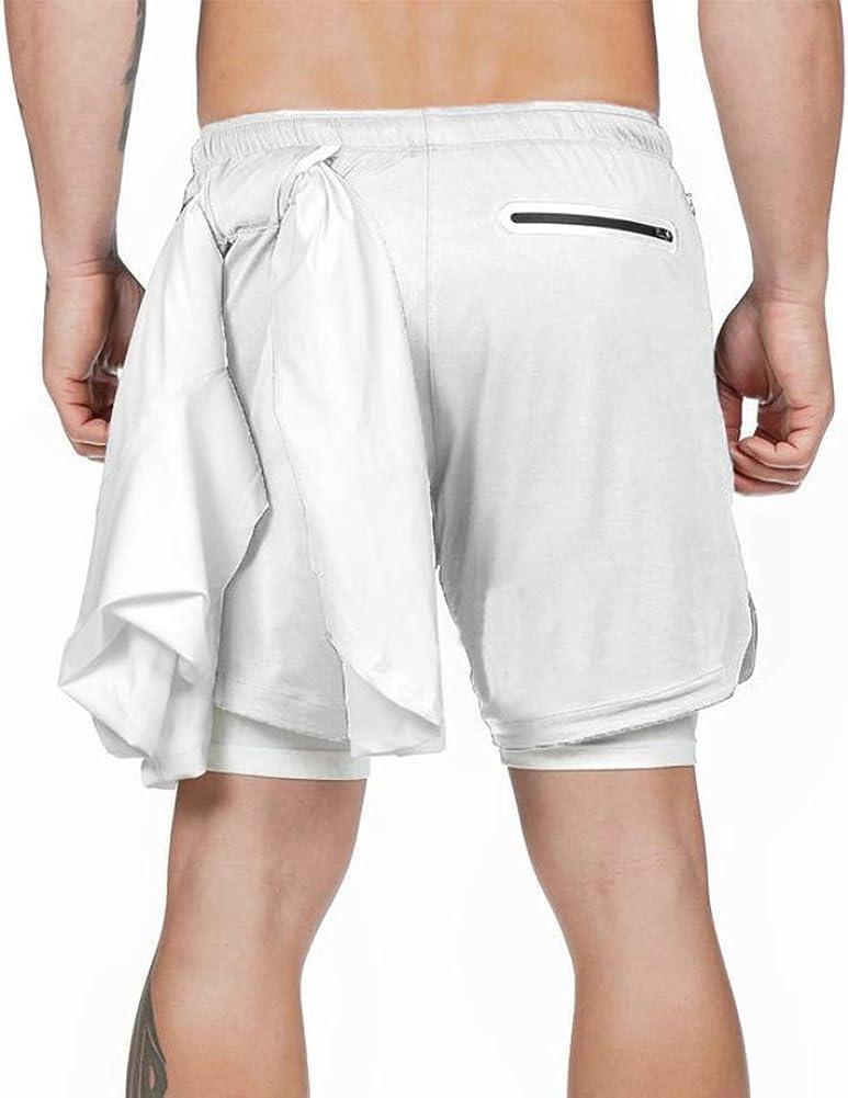 THWEI Mens 2 in 1 Running Shorts Towel Loop Bodybuilding Shorts Men Running Jogger with Pockets