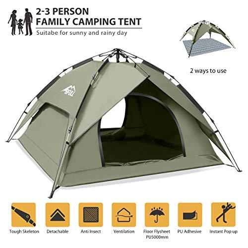 BFULL Instant Pop Up Camping Zelte für 2-3 Personen Familie, Kuppelzelte Wasserdicht Sonnenschutz Backpacking Wurfzelte…