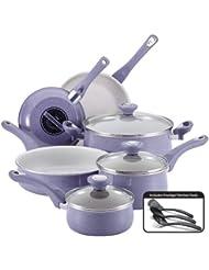 Farberware New Traditions Speckled Aluminum Nonstick 12-Piece Cookware Set, Lavender