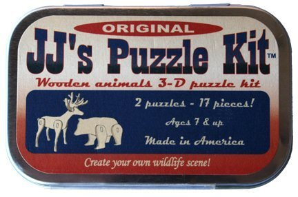 (Channel Craft JJs Puzzle Kit, Original, Two 3-d Wooden Animals)